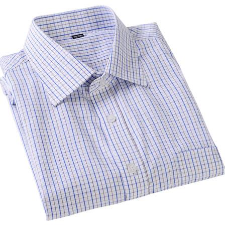 男装 千行纯棉兰方格衬衫/短袖修身版38码