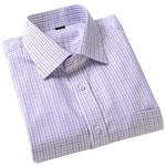 男装 千行纯棉紫方格衬衫/短袖修身版38码